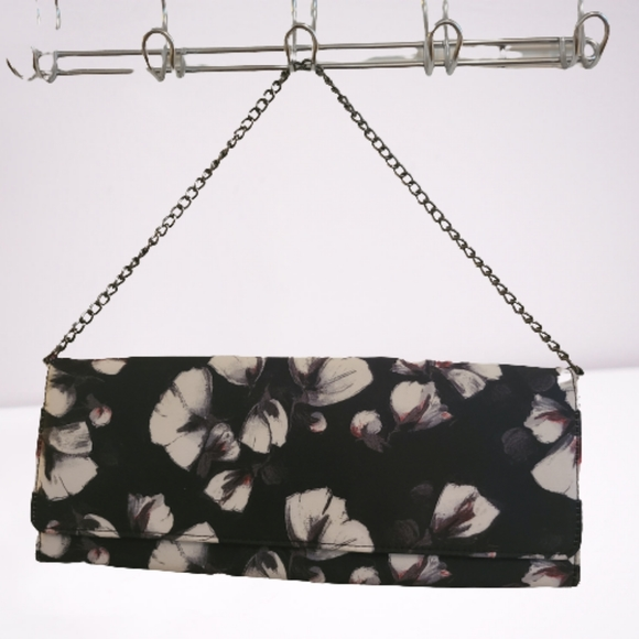 NEW WHBM Floral Statin Envelope Clutch
